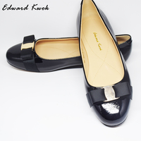 Genuine Leather Women Bow Tie Designer Flats Shoes DA002