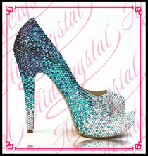 Aidocrystal fashion stylish women bling bling crystal gradient design pump evening shoes size 9 peep toe high heel shoes
