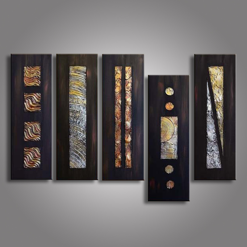 5 Piece Abstract Picture Geometric Black Oil Painting Hand Painted Canvas Paintings Acrylic Wallpaper Modern Home
