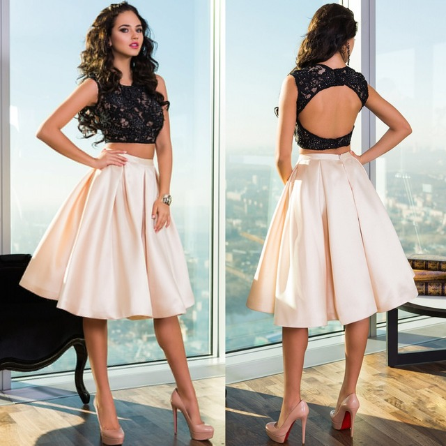 Hot Sale Scoop Neckline Two Pieces Formal Cocktail Dresses 2015 Satin with  Lace Knee Length A adab7438194a