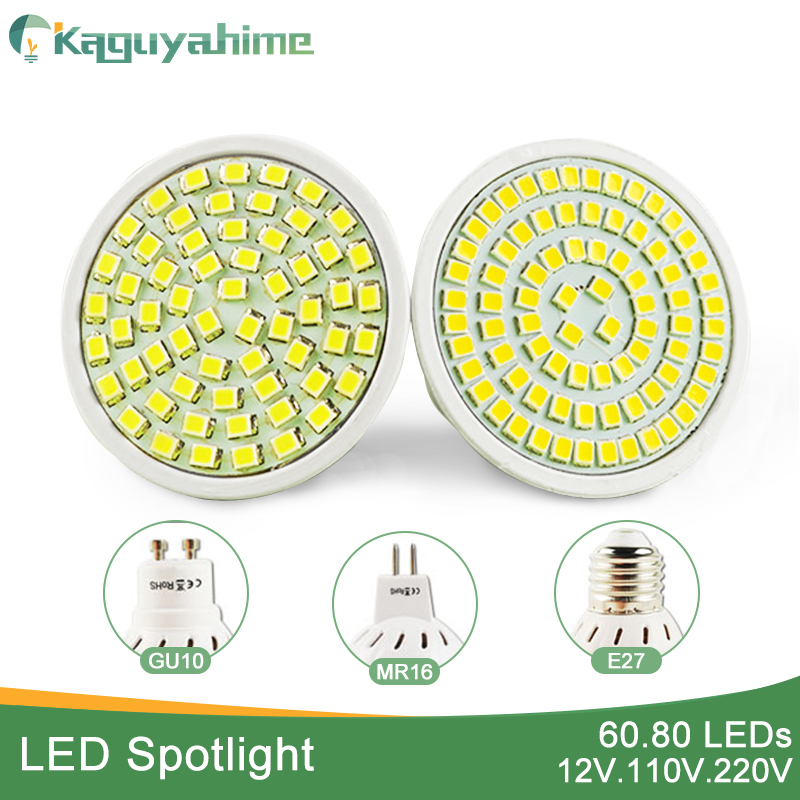 Kaguyahime LED Spotlight Grow Light E27 Gu10 Mr16 DC 12V AC 220V LED Lamp 60/80LEDs 3W 4W Lampada Spot LED Bulb Full Spectrum