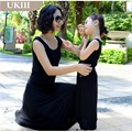 Family look Vacation Holiday classic black Modal cotton Long beach dress skirt mother Girl dress and Father son T-shirt dresses
