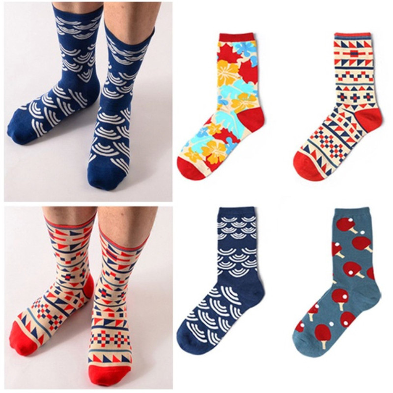 Underwear & Sleepwears New Mens Socks Combed Cotton Long Socks Funny Novelty Skateboard Creative Brand Dress Happy Socks For Men Male Meias Calcetines