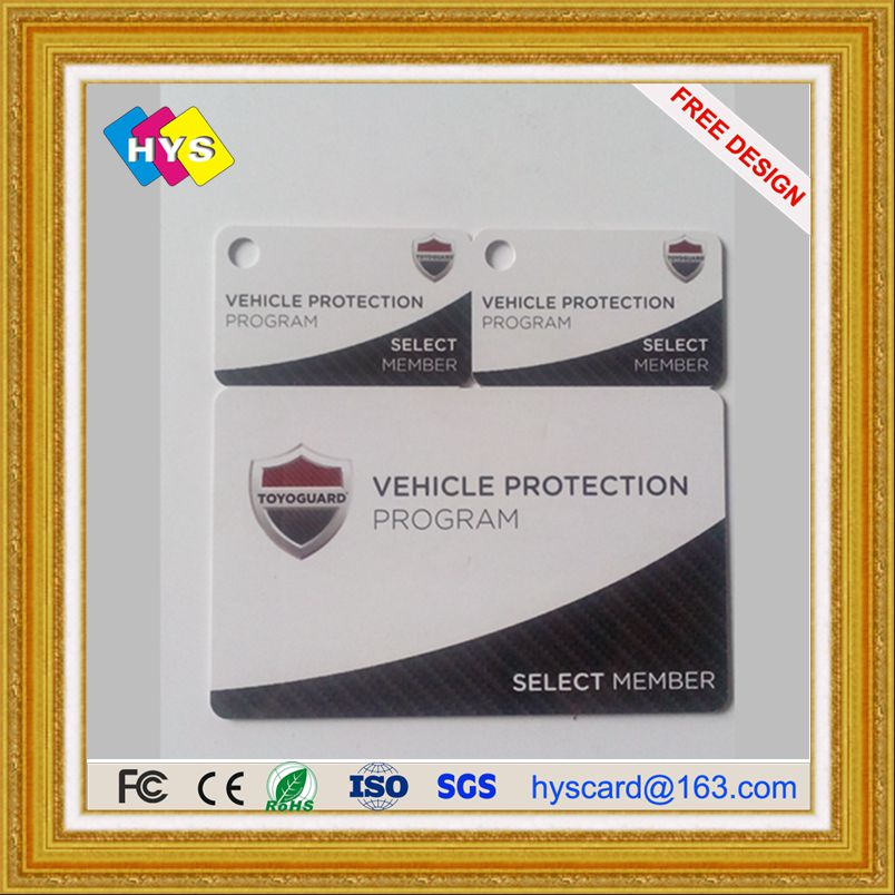 Perforated pvc key card ,blank white card and membership cards
