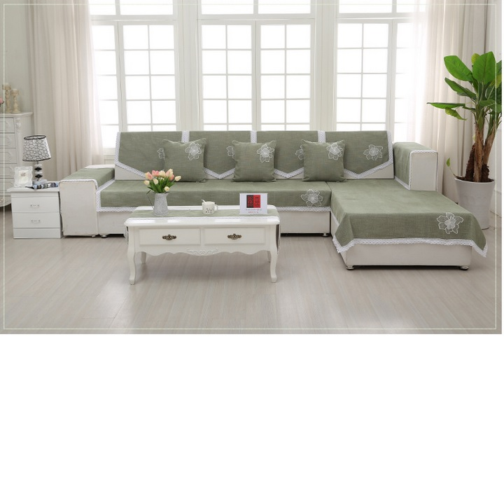 Chenille sofa cover Contemporary and contracted style Green ...
