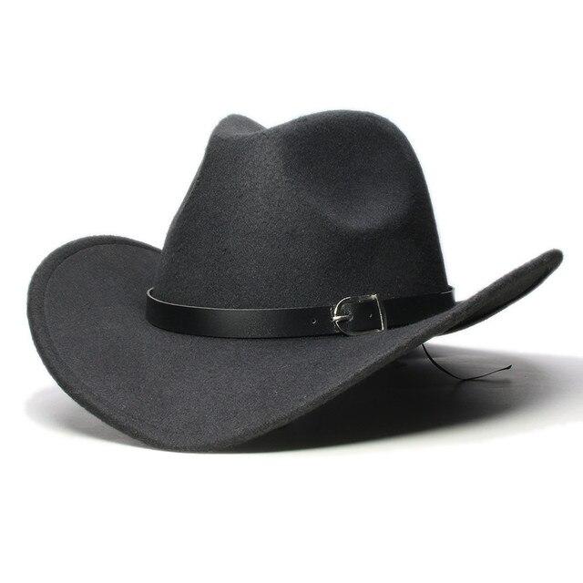46a6f75db786a LUCKYLIANJI chicos chica ala ancha país occidental de cuero sombrero de  fieltro de lana de Jazz