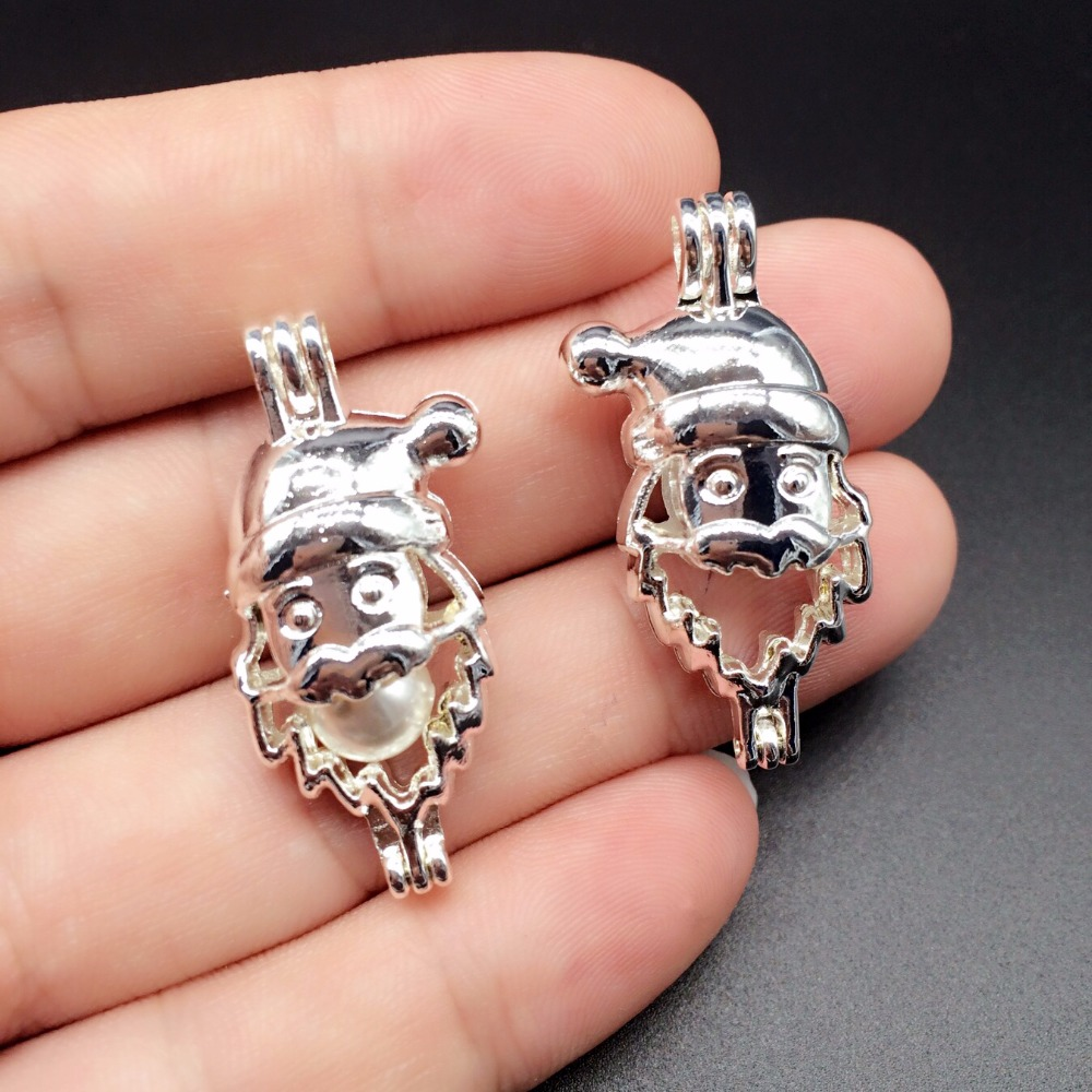8pcs Bright Silver Hollowed Santa Claus Jewelry Making Supplies Pearl Beads Cage Pendant Essential Oil Diffuser
