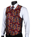VE17 Burgundy Blue Paisley Top Design Wedding Men 100% Silk Waistcoat Vest Pocket Square Cufflinks Cravat Set for Suit Tuxedo