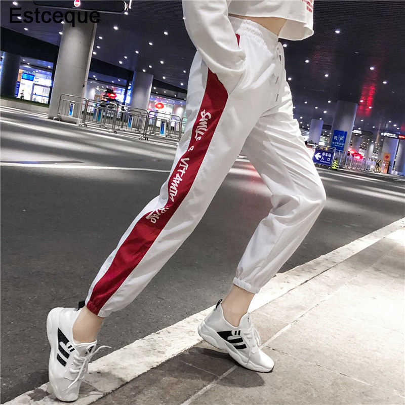 Новые модные женские штаны в стиле хип-хоп с высокой талией, свободные штаны-шаровары, женские тонкие штаны в стиле хип-хоп, повседневные штаны для бега трусцой