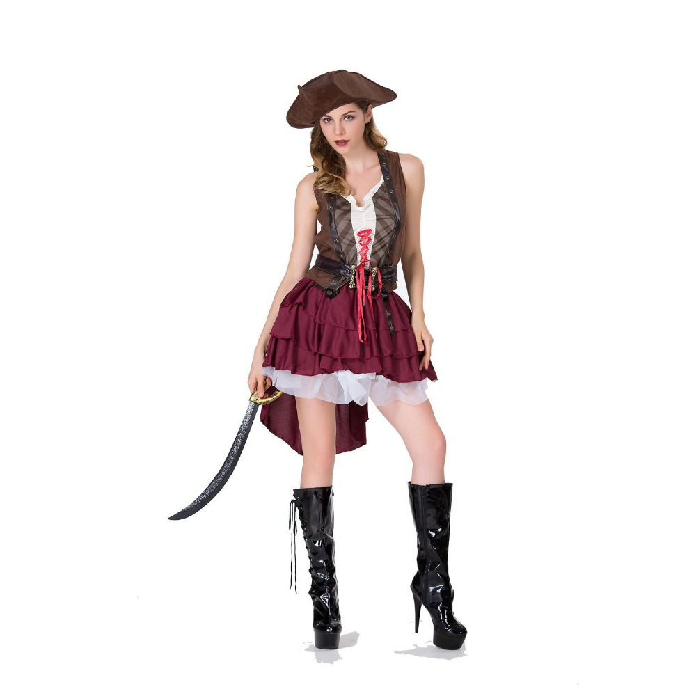 Halloween Jack Captain Serves Caribbean Pirate Costume cosplay Adult Stage Show