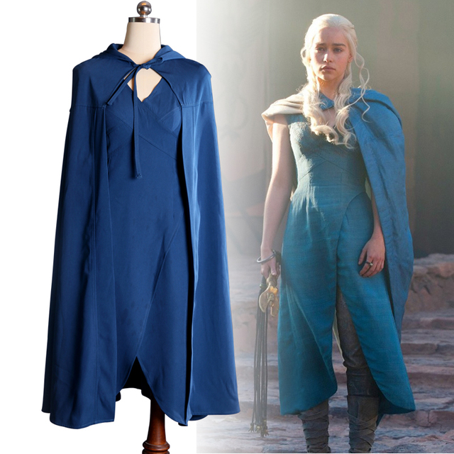 Ainiel Game of Thrones Daenerys Targaryen Cosplay Costumes Sexy Blue Dress Cloak Halloween Costume for women
