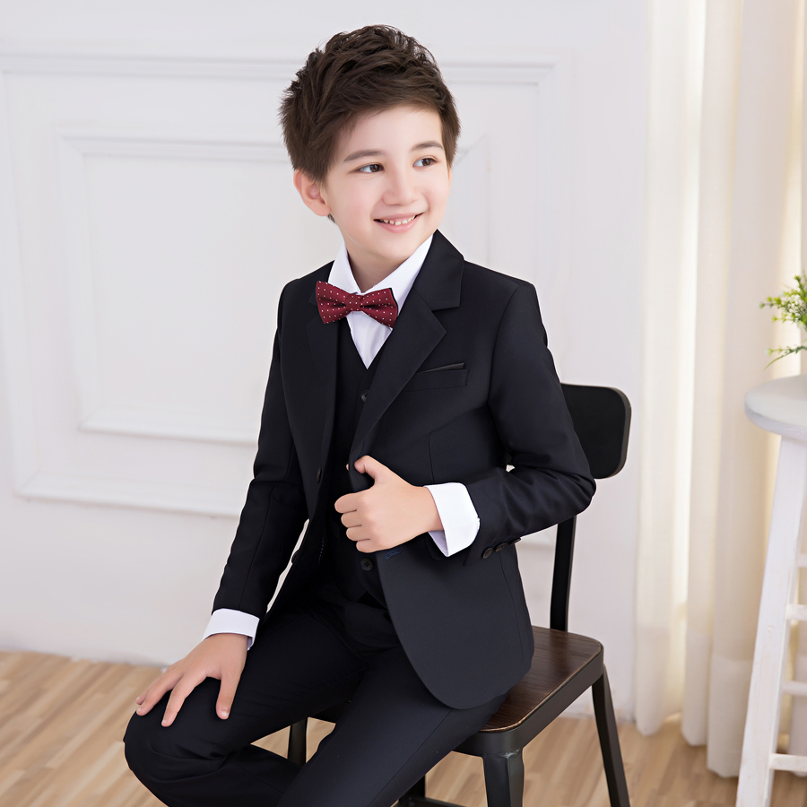 Boy suit small suit jacket master evening dress suit 5 / sets: coat + pants + vest + shirt + tie. t016 new fashion boy suit jacket children show host children s piano vest suit t shirt vest pants bow tie boy blazer suit