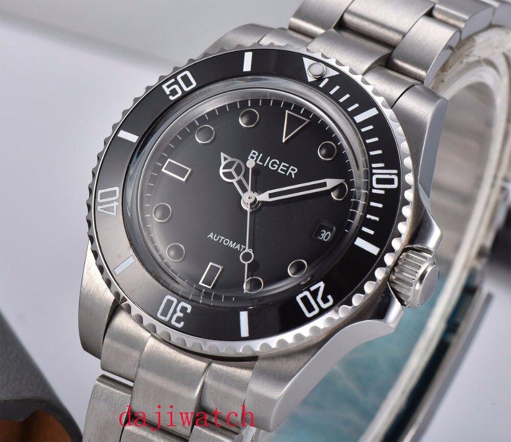 40mm Bliger black dial ceramic bezel SUB automatic mechanical men's watch