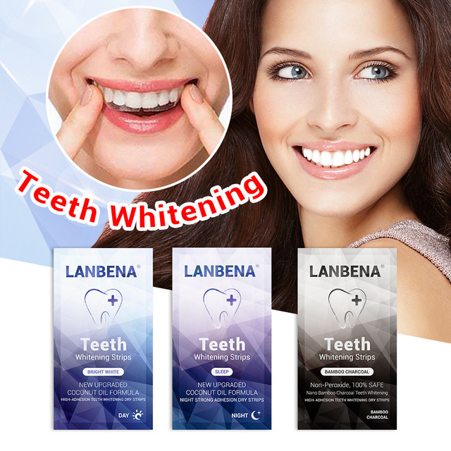 LANBENA Teeth Whitening Strips Oral Hygiene Teeth Veneers White Strips Removes Plaque Stains Tooth Bleaching Dental Tools 7 Pair