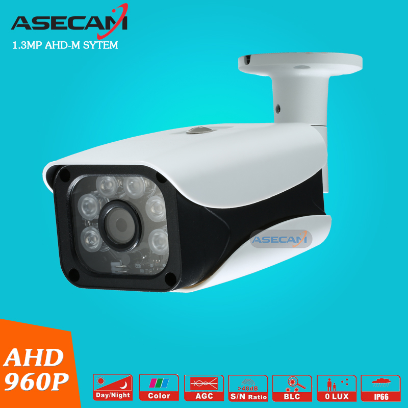 Asecam CCTV AHD 960P Waterproof Outdoor  Metal Bullet Surveillance 6pcs Array infrared IR-CUT Security Camera Free shipping low illumination hd 1 3mp cctv 960p ahd camera 3000tvl outdoor waterproof mini small metal white bullet ir security surveillance