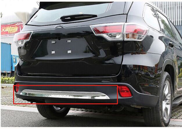 ACCESSORIES FIT FOR 2014 2015 toyota HIGHLANDER CHROME REAR LOWER BUMPER COVER MOLDING PROTECTOR TRIM GRILLE for toyota highlander 2014 2015 abs auto interior chrome gear box panel modified hand brake trim decoration cover