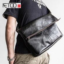 AETOO Head cowhide Bag men's crossbody bags leather folding bag tide shoulder bag bag head bag