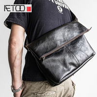 AETOO Head cowhide Bag men's crossbody bags leather folding bag tide shoulder bag