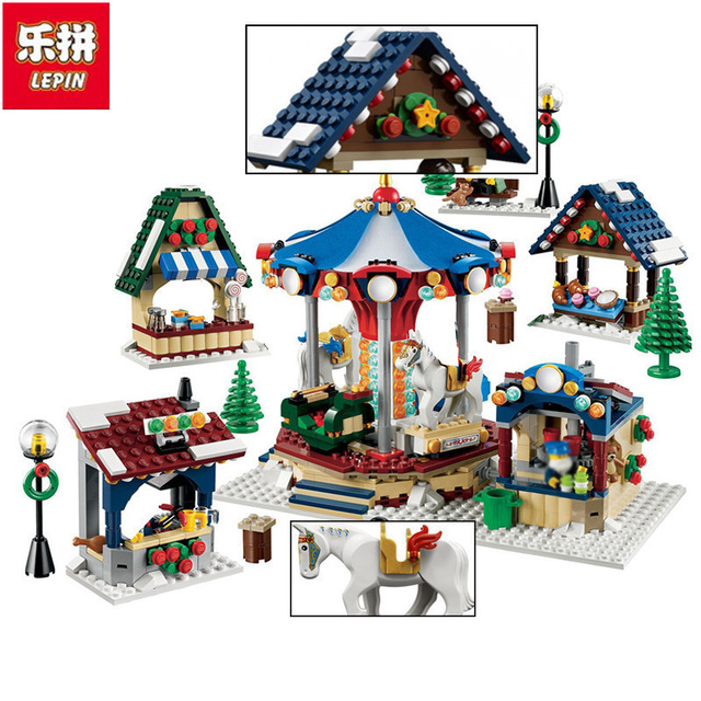 Lepin 36010 Genuine Creative Series 1412Pcs The Winter Village Market Set 10235 Building Blocks Bricks Educational Toys as Gifts lepin 36010 genuine creative series the winter village market set legoing 10235 building blocks bricks educational toys as gift
