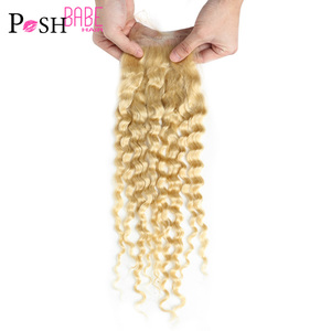 POSH BABE Brazilian Deep Wave Closure 613 Blonde Remy 100% Human Hair Free/Middle Part 4x4 Swiss Lace Top Closure Free Shipping(China)