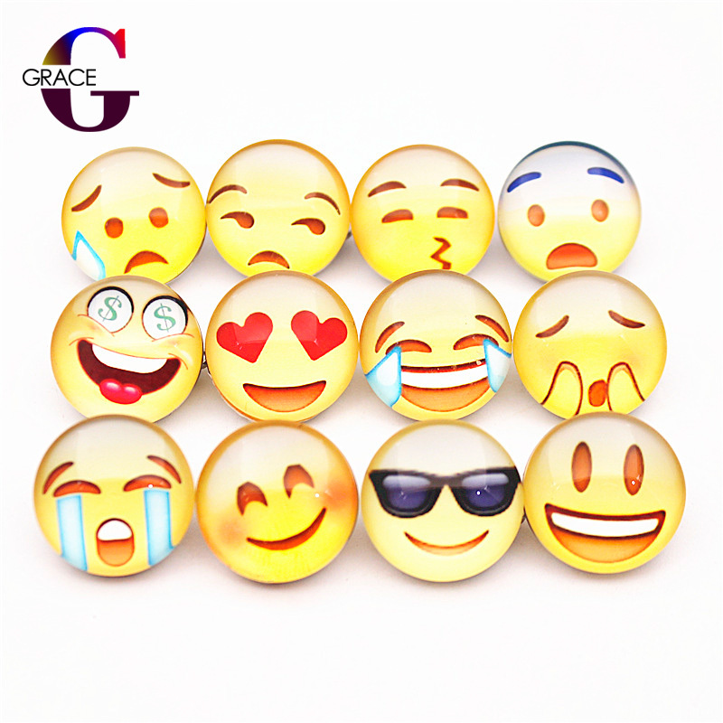 20pcs Mixed Smiley Face Current Emotion Mood Expression Pattern Glass Charms 18mm Snap Buttons Jewelry Fit DIY Snaps Bracelets