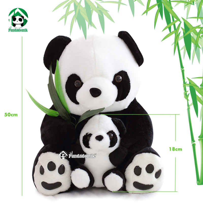 Pandadomik Panda Plush Dolls 50cm Mother 18cm Baby Panda Cute Lovely Stuffed Gift Toy Cushion Lumbar Doll Animals Kids Toys 40cm super cute plush toy panda doll pets panda panda pillow feather cotton as a gift to the children and friends