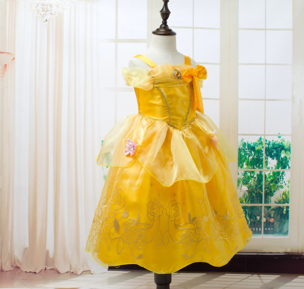 Toddler-Girls-Summer-Belle-Dresses-Princess-Costume-Party-Clothing-Beauty-and-the-Beast-Yellow-Dress-Sleeveless-Clothes-3