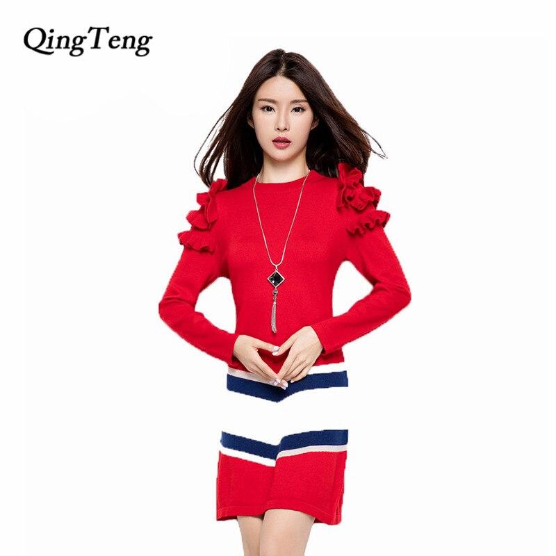 QingTeng Winter Autumn Women Dress Ruffle Sleeve Cashmere Knitted Pullovers Long Sweaters Female 2017 New Fashion Girl Dresses