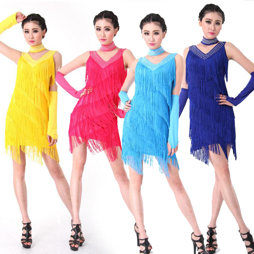 4 Pieces Wholesale Price 8 Colors Sexy Latin Dance Costume Performance Wear Dancing Dress Women Clothes Tassels Skirts