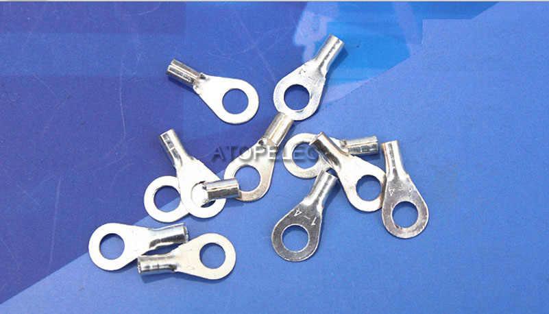 """1pc 1-4 טבעת מלחץ כסף מצופה פליז מסוף מחבר עבור 18AWG 20AWG חוט צמצם 4 מ""""מ חור"""