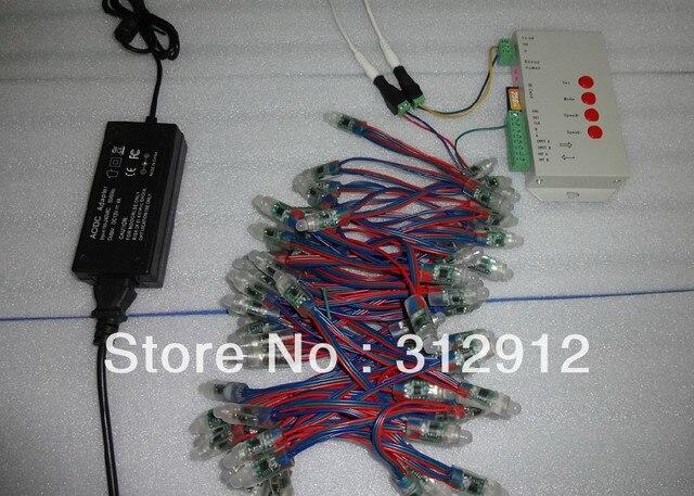 100pcs DC12V 12mm TM1829 pixel node+T-1000S LED sd card pixel controller+12V/4A power adaptor