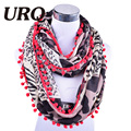 2016 New Ball Tassel Style Leopard Print Infinity Loop Sprint Autumn Scarf Women's Accessories V8A18727