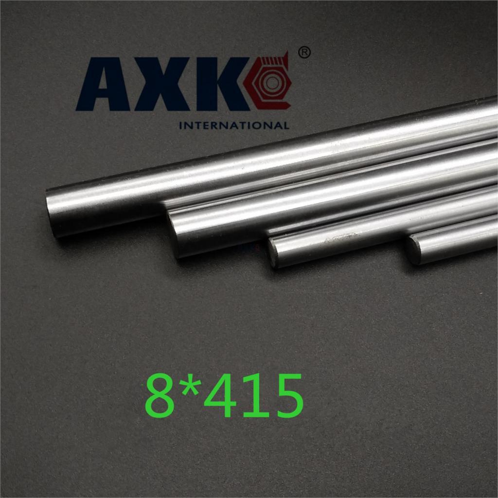 Axk 2pcs/lot Dia 8mm Linear Shaft 415mm Long For Lm8uu 8mm Linear Ball Bearing Linear Smooth Rod 8pcs lot sc8v scv8uu 8mm linear bearing bushing lm8uu linear ball bearing for 8 mm linear shaft