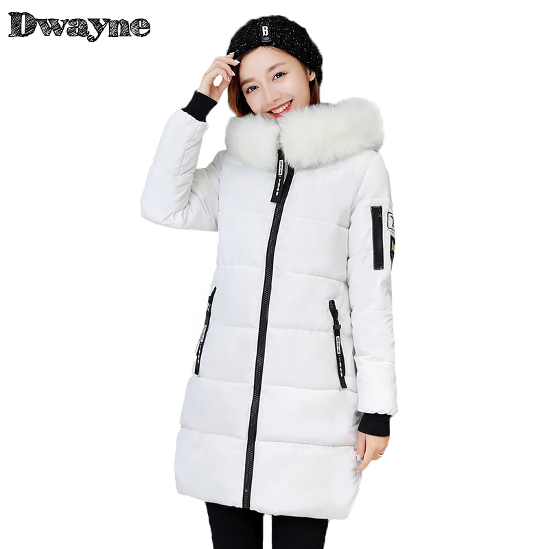 Winter jacket Women 2017 Mid-long Thicken Warm cotton-padded Down Parkas Coat Faux Fur Collar Hooded Jacket for girl Plus size 2015 new hot winter thicken warm woman down jacket coat parkas outwewear hooded loose brand luxury high end mid long plus size l