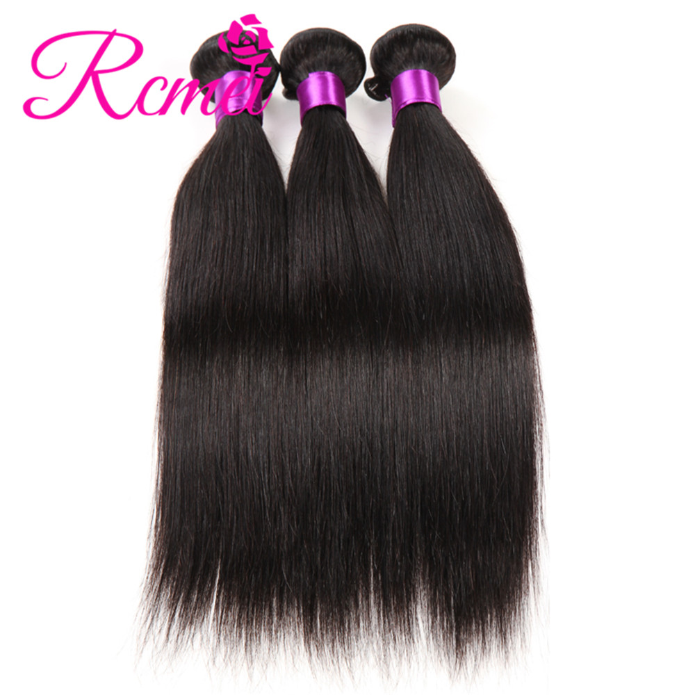 Rcmei Brazilian Straight Weaves Bundles 3 Bundles/Lot Hot Sale Cheap Human Hair Weaveing 8-28 Inch Natural Black Extensions Weft