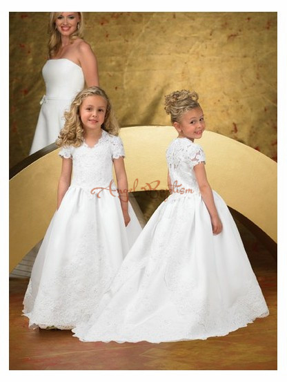 New Short Sleeves Flower Girl Dresses For Party White/Ivory sheer Lace First Communion Dress 2016 Cheap Vestidos Custom made white ivory butterfly lace flower girl dress bow sash sleeveless a line vestidos longo custom made first communion gown 2017