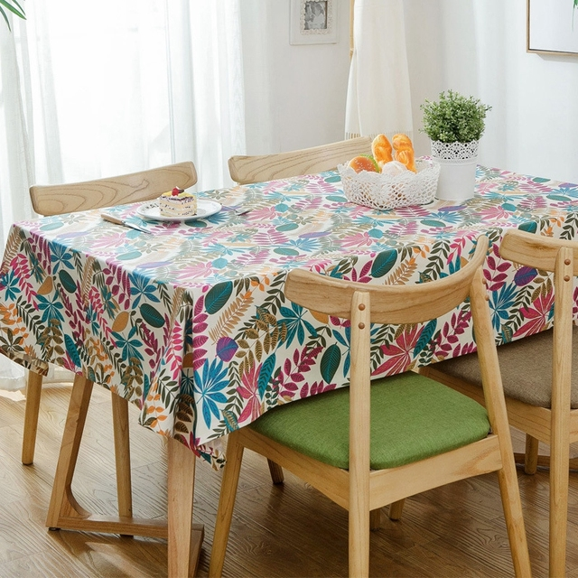 Colorful Leaves Printed Floral Tablecloths American Table Cloth Party  Luxury Wedding Tablecloths Cotton Rectangle Table Cover