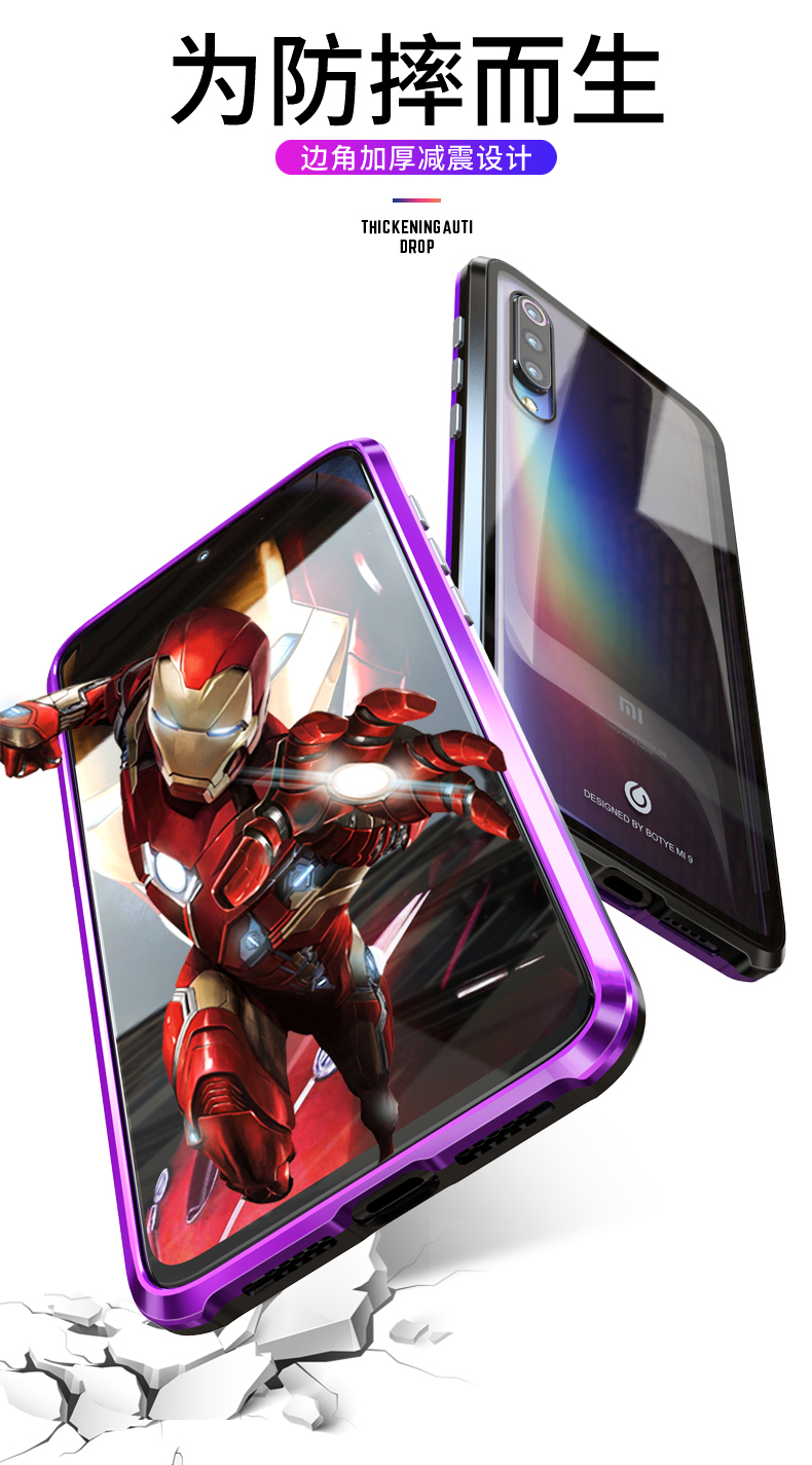 Magnetic Case For Xiaomi Mi 9 Case Metal Bumper Mi9 SE Transparent Glass Back Cover For Xiaomi 9 Metal case Xiaomi 9 SE Mi 9SE in Fitted Cases from Cellphones Telecommunications