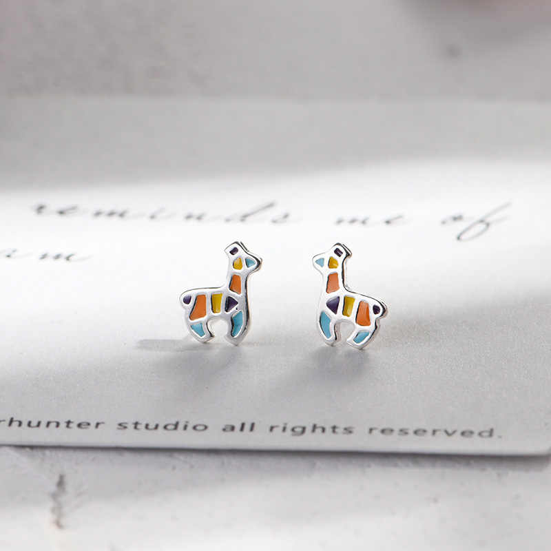 Lidavi 925 Sterling Silver Colorful Deer Animal Studs Earrings for Women Girl Lady Cute Christmas Gifts Jewelry Present VES6209