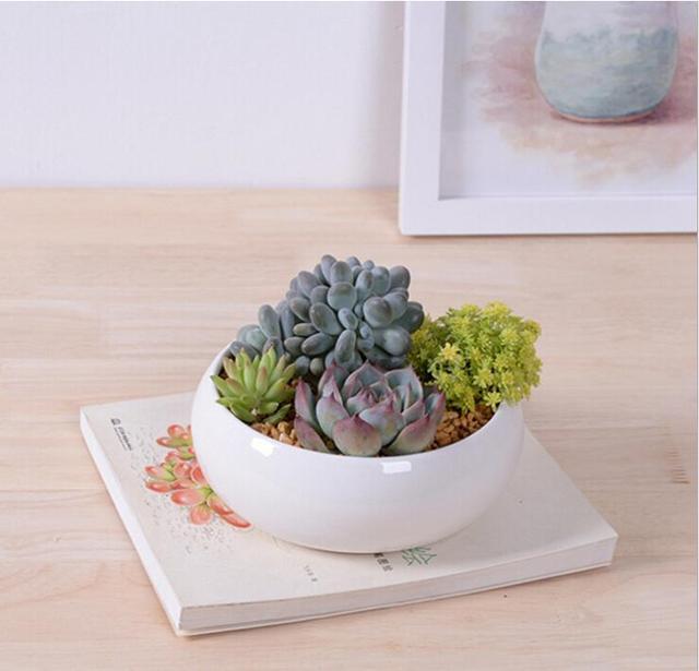 Garden Decor Accessories White Glazed Ceramic Planters Small Pots For  Succulent Plants Potted Flower Pot Bonsai