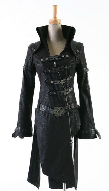 Fashion Punk Streampunk Coat Jacket Visual Kei Black Motorcycle Gothic Trench