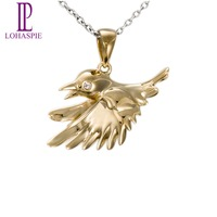 Lohaspie Gold Jewelry 10K Yellow Gold Bird Shape Pendant Fine Fashion Jewelry For Women Gift Come With A 18 Inches Silver Chain
