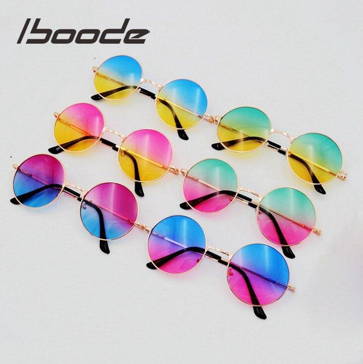 98329820b514e Iboode Oceano Cor da Lente Dos Óculos De Sol Do Vintage Rodada Óculos De Sol  Das
