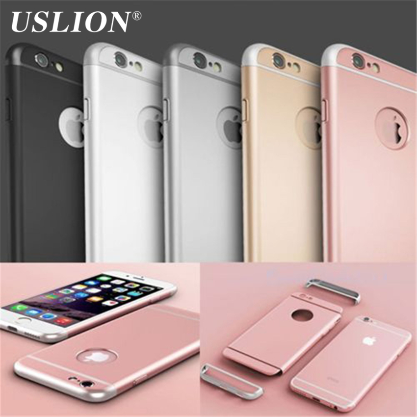 USLION Phone Case For iPhone 6 6s Plus 5 5s SE Luxury 3in1 Design Matte PC Hard Armor Shockproof Phone Case For iPhone 6 5 Shell