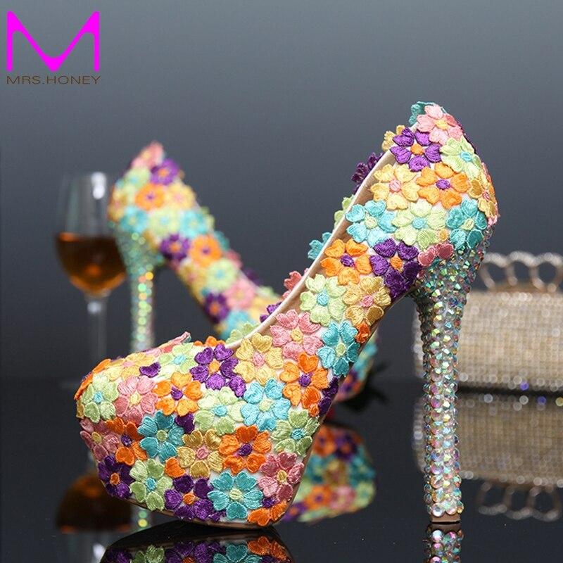 ФОТО 2016 Handmade Elegant Lace Flower Wedding Party Shoes Multicolor Heart Design Bridal Shoes Banquet Evening Prom Pumps Platforms