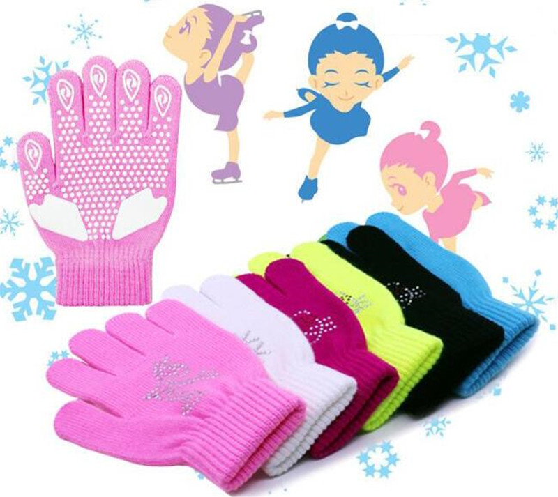 SOARED Figure Skating Gloves For Kids Girl Adult Knitted Mittens Elastics Warm Fleece Ice Skating Snow Protect Hands