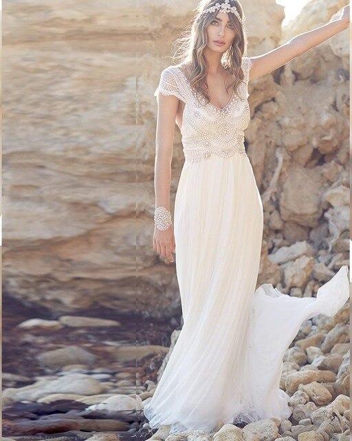 6783d1eada Robe mariage 2019 blanc dos nu mousseline de soie plage Boho robes de  mariée dentelle v