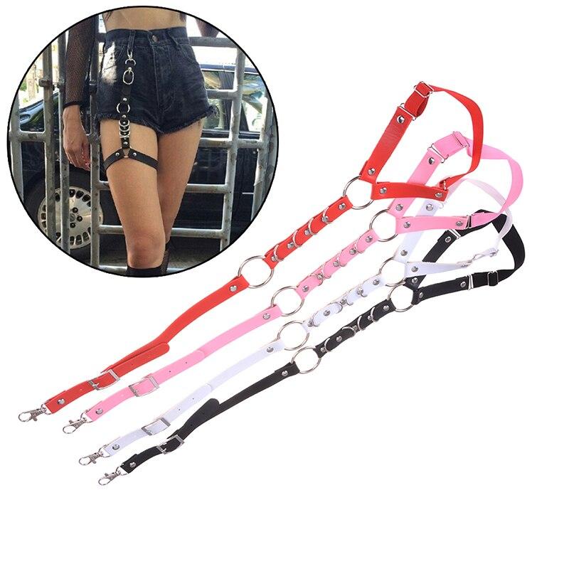 Fashion Harajuku Leather Shirt Punk Suspenders Men Women Hook Adjustable Leg Ring Handmade Sock Garter Suspender Bretels Belt