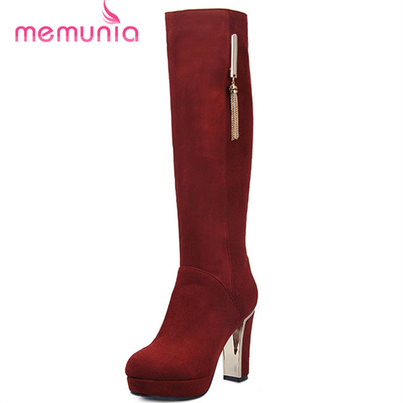 ФОТО fashion women's ankle boots genuine leather thick high heels boots round toe spring autumn black zip sexy shoes