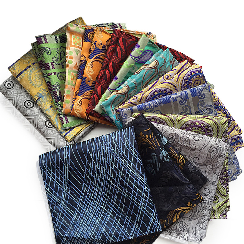 Cashew Handkerchief Paisley Silk Handkerchiefs Plaid Hanky Men's Business Casual Square Pockets Handkerchief  Wedding Hankies